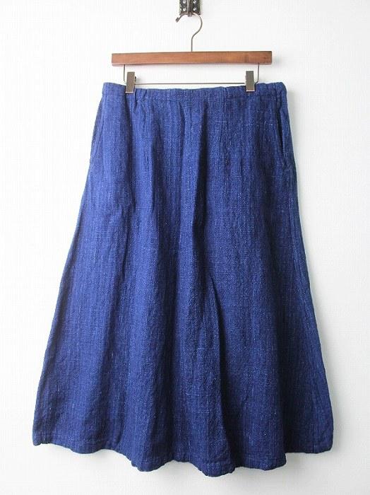 インディゴ染め フレア スカート