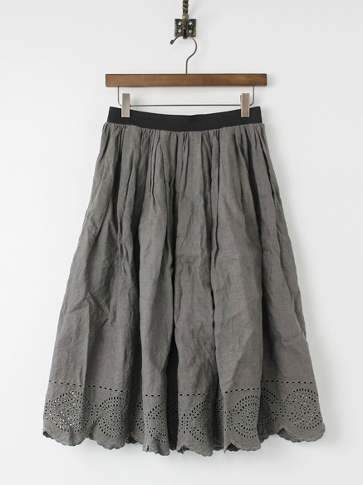 カットワーク リネン ギャザー スカート
