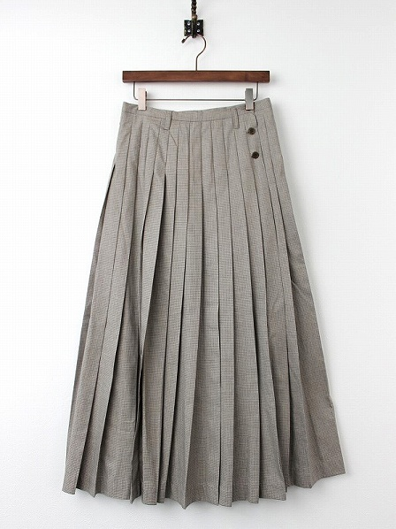 千鳥格子柄 プリーツ ロングスカート