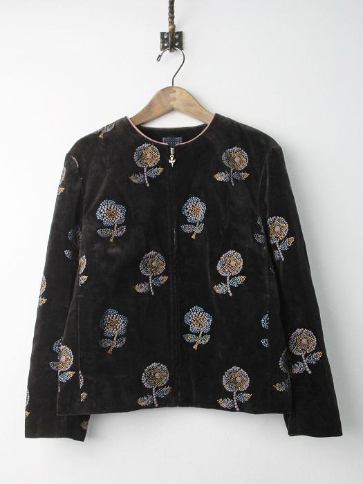 va2291 chum ベルベット刺繍 ノーカラー ジャケット
