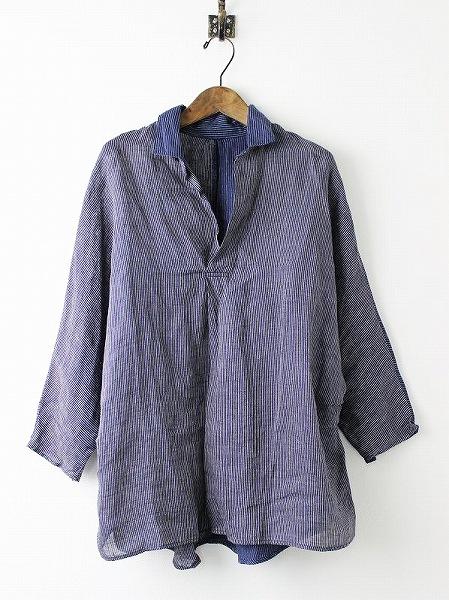 K1705LS215 IDGリネン竹ストライプ グッドモーニングプルシャツ