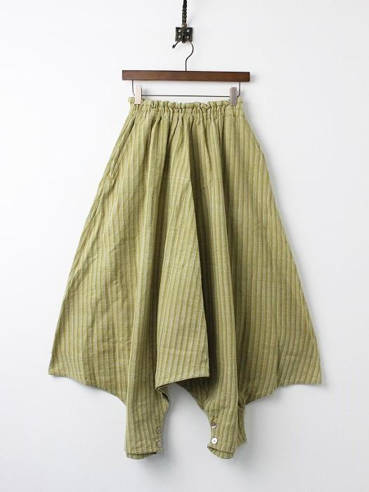 手織り 天然草木染め ストライプ 2way サルエル パンツ・スカート