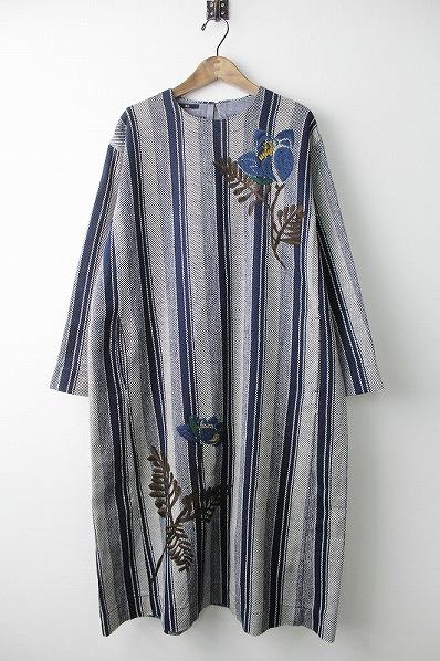 カルゼヒッコリープルメリア 刺繍 ワンピース