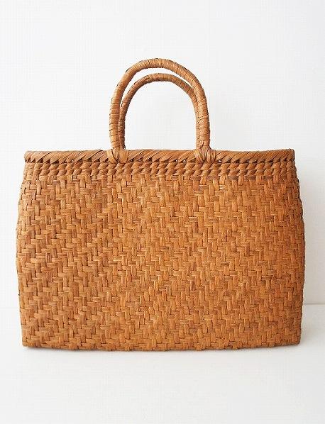 網代編み 柿渋染め内布付き かごバッグ