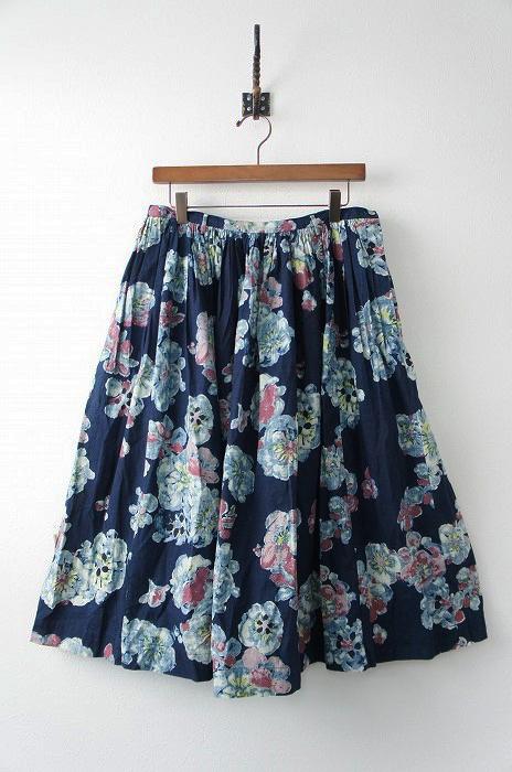 インディゴ染め 花柄 抜染 ギャザー スカート