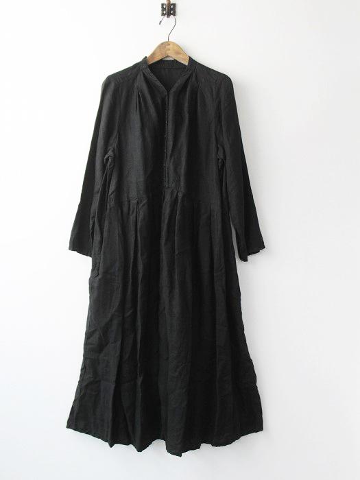 01173-1090 リネン Yネック ドレス
