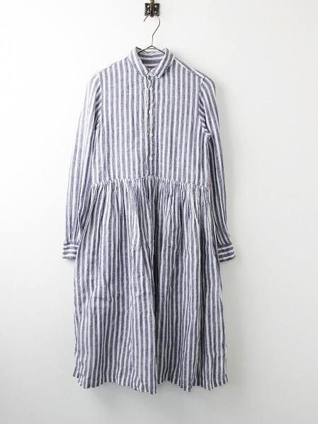 リネン ストライプ シャツドレス