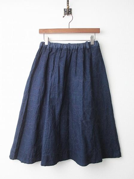 木槿柄 刺繍 インディゴ ガーゼ スカート