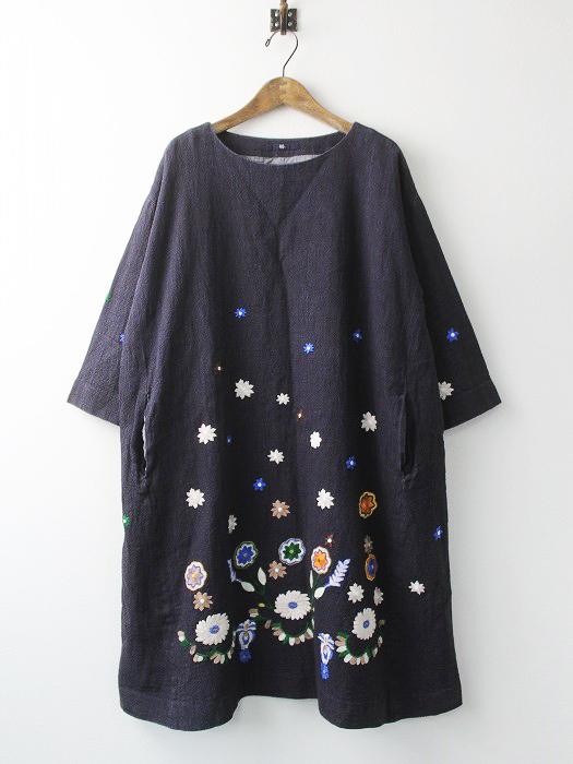インディゴ染め 花刺繍 ギマツイード フラワー ワンピース