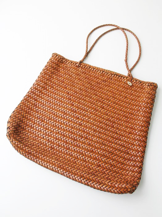 レザー編み かごバッグ