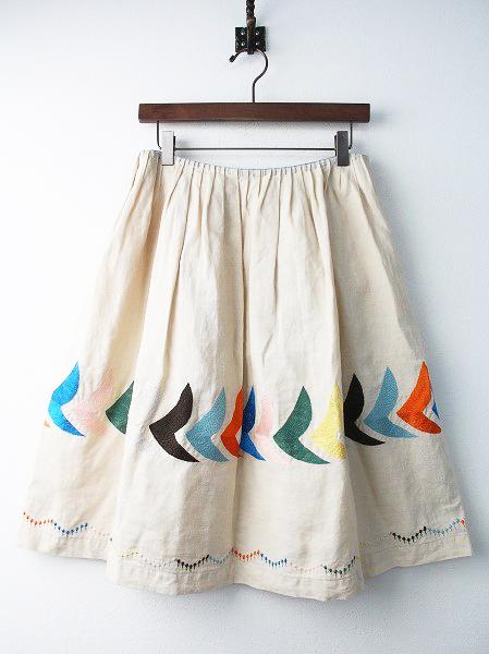 bird リネン フレア スカート