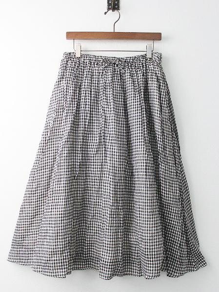 リネン ギンガムチェック ギャザー スカート