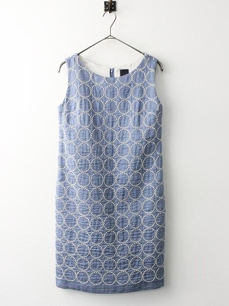 tambourine シルク混 刺繍 ノースリーブ ワンピース