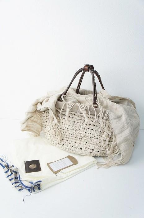 オイルレザー×刺繍 レース リネン さき編み ハンド バッグ