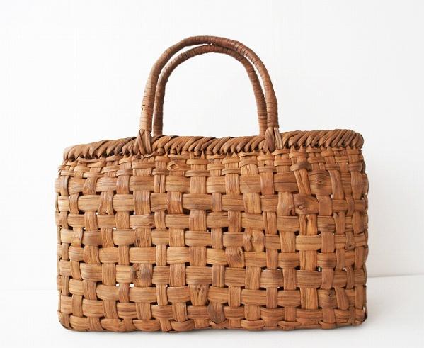 ござ目編み かごバッグ 太ひご使用 横長-天然蔓編み バスケット