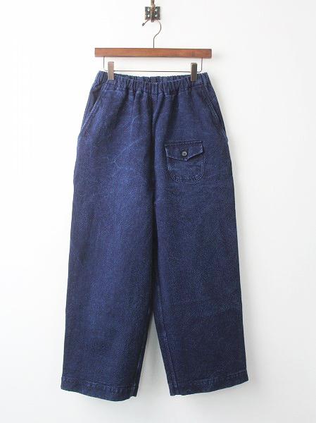 G181-P019 バーズアイ デニム ワイド パンツ