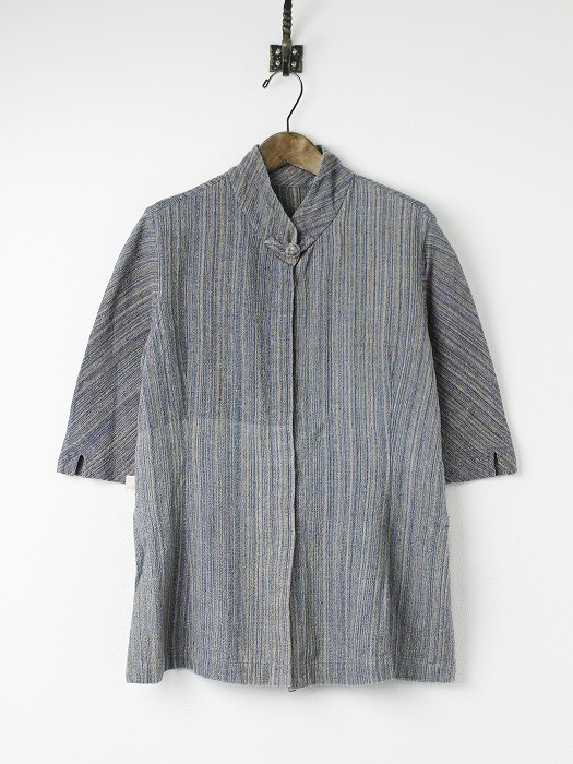 手織り 天然草木染め インディゴ スタンドカラー 5分袖 シャツ