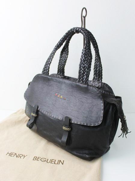 ファミリー オミノ刺繍 レザーハンド バッグ