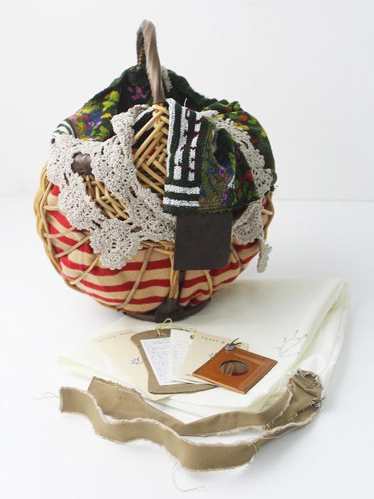 シェニール織り×レース 紅籐 かごバッグ