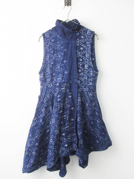 USAATO天然草木染め インディゴ染め 手紡ぎ 羽織り ワンピース