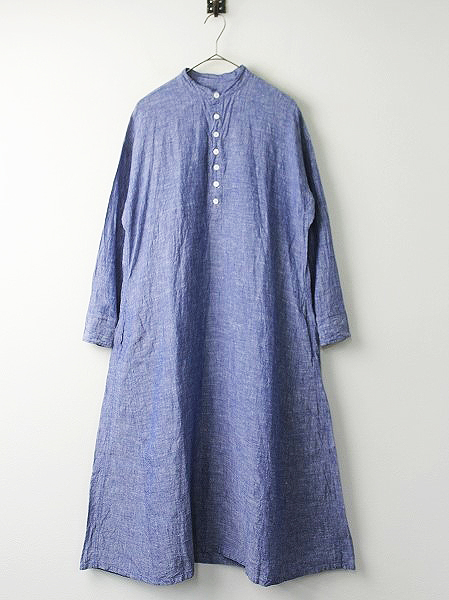 リネン スタンドカラー シャツ ドレス