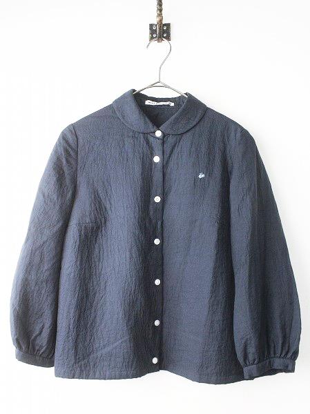 peat 蝶刺繍 丸襟 長袖 シャツ