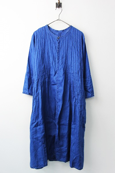 K1502OP187 フレンチクロスリネン ピンタックオキーフドレス