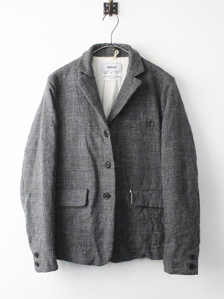 153051 wool linen jacket gray glen check