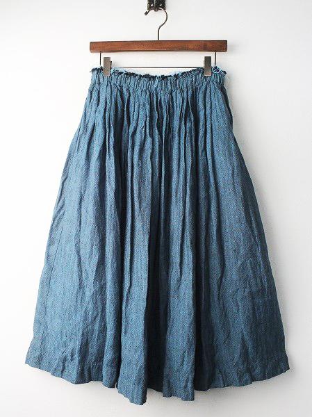 LS-17HO42 リネン ヘリンボーン ギャザー スカート