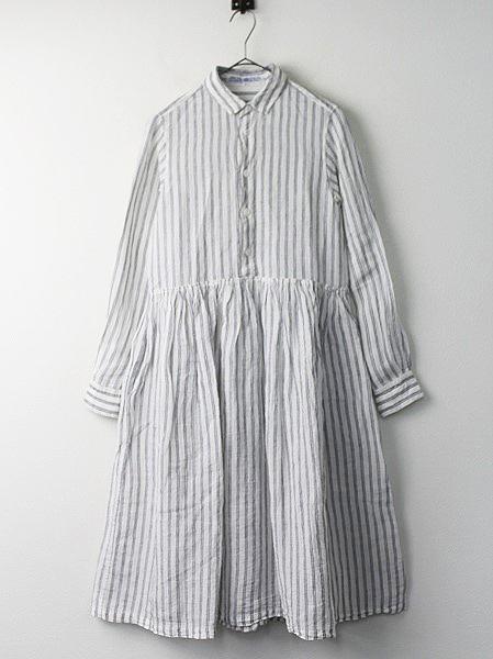 リネン ストライプ シャツ ドレス