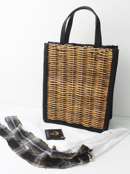 A4カゴ袋 防水キャンバス × 紅藤 かごバッグ
