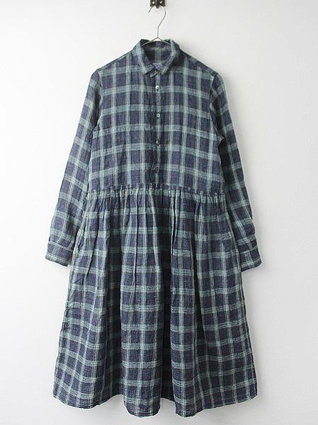 リネン タータン チェック シャツ ドレス