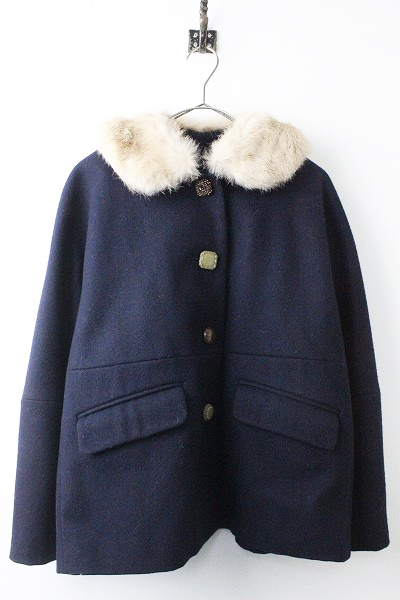 nesessaireラビット ファー付き 襟 ウール ショート コート