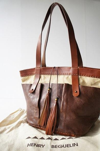 HENRY BEGUELINオミノ刺繍 レザーXキャンバスガーデンバッグ