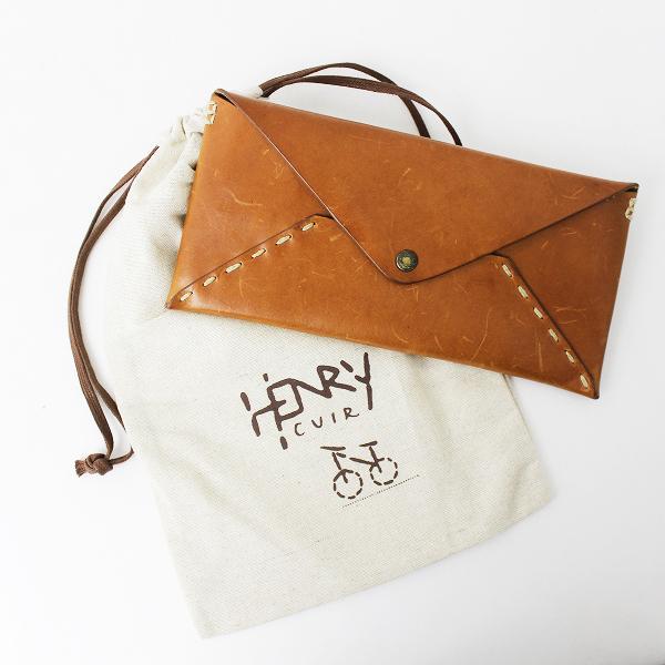 CANE 刺繍 封筒型 レザー ロング ウォレット