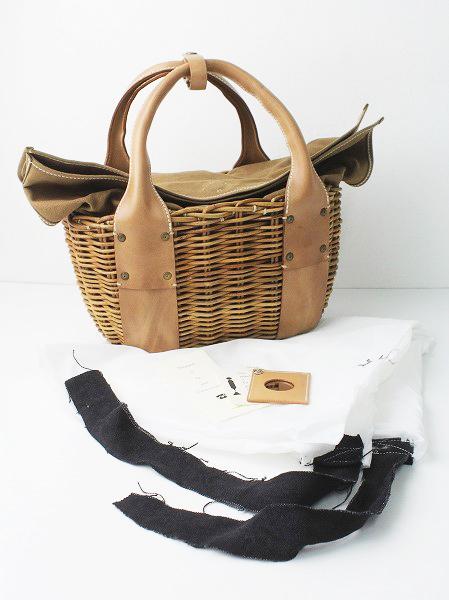 ebagosチューリップ オイルレザー × 防水キャンバス × 紅籐かごバッグ