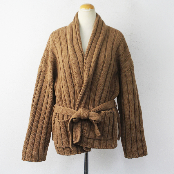 BABY CAMEL HAIR CORD RIB KNIT GOWN