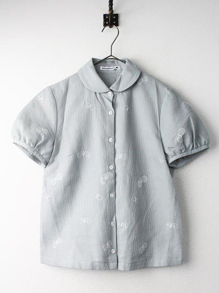 choucho 丸襟 刺繍 半袖 シャツ
