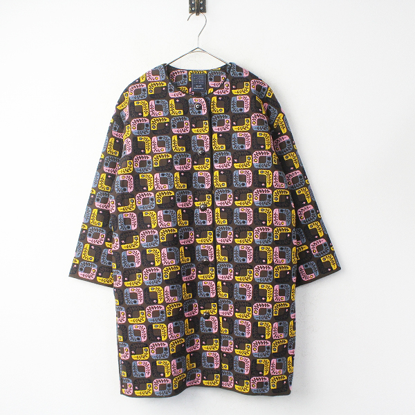 mina perhonenlolo 刺繍 ノーカラー ロング コート