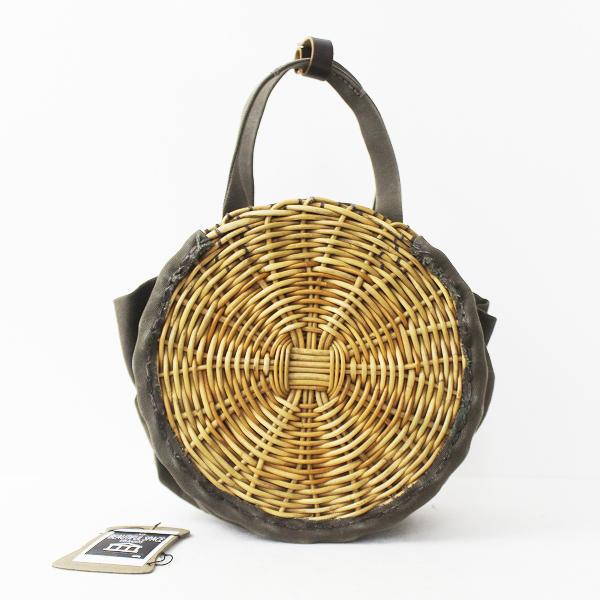 ebagos防水キャンバス × 紅籐 円カゴ 手提げ バッグ