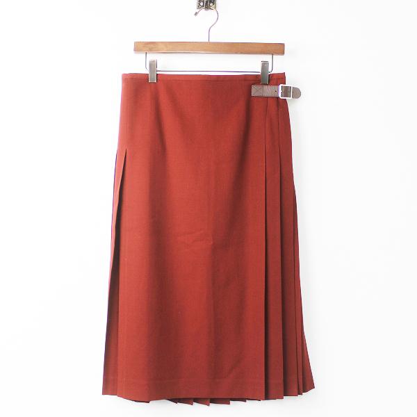 MARGARET HOWELLウール バックプリーツ ラップ スカート