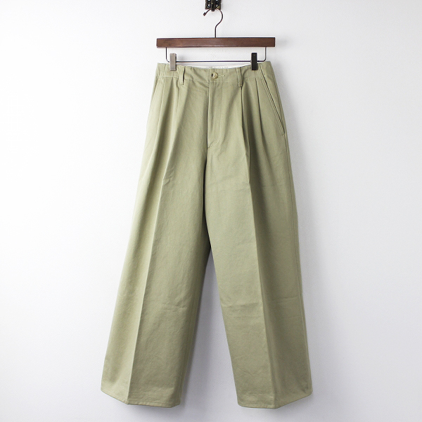 AURALEE WASHED FINX CHINO WIDE TUCK PANTS