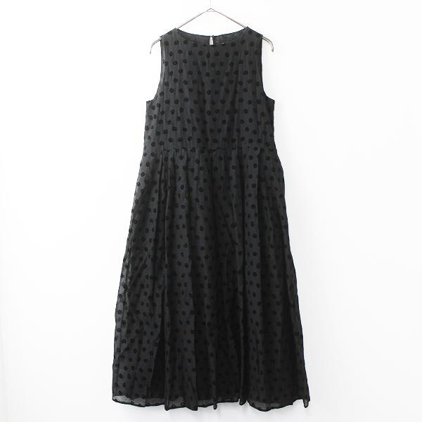 フロッキープリント フラワー Wタック ドレス