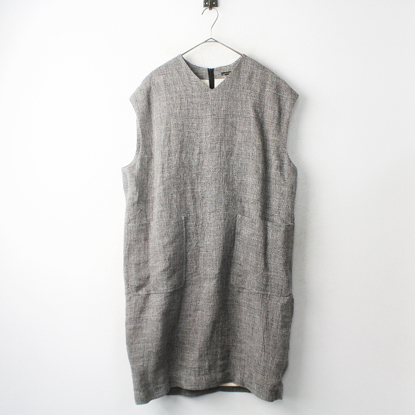 R&D.M.Co- MESH LINEN V NECK DRESS リネン Vネック ドレス