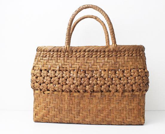 伝統工芸品網代編み×六角編み かごバッグ
