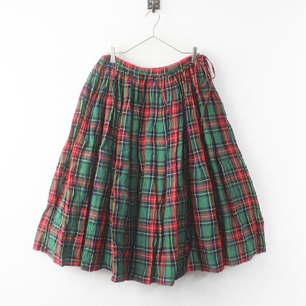 R&D.M.Co-59400 リネン タータンチェック ギャザースカート