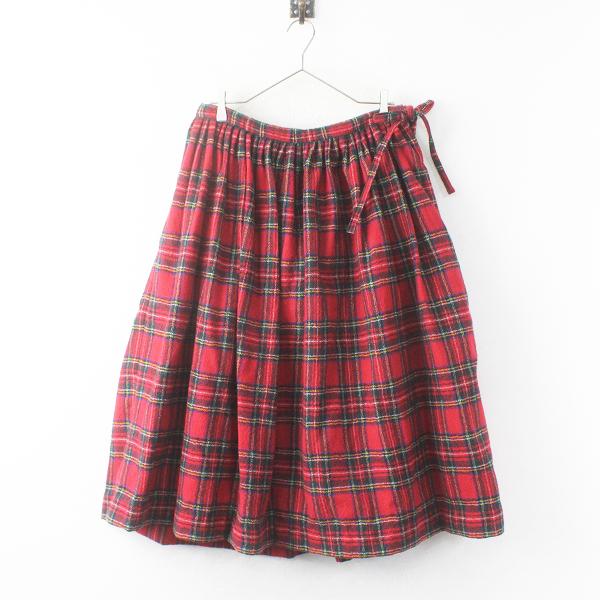 R&D.M.Co-ウール タータンチェック ギャザー スカート