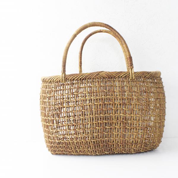 伝統工芸品小出し編み 丸型横長 かごバッグ