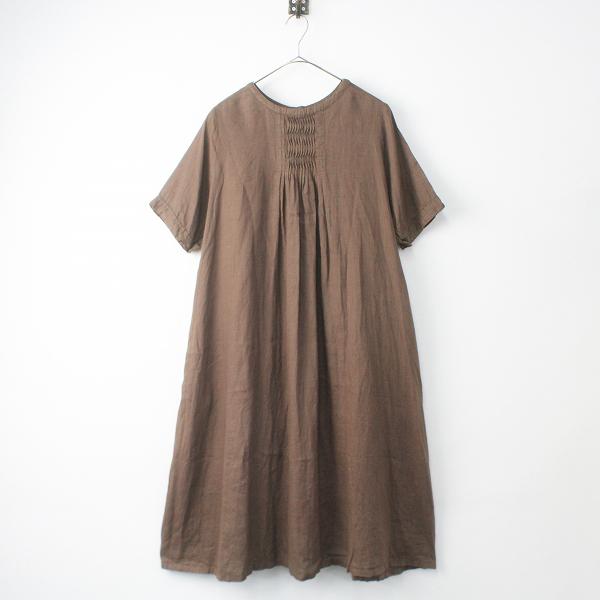 01192-2014 リネン ウェーブ タック ドレス