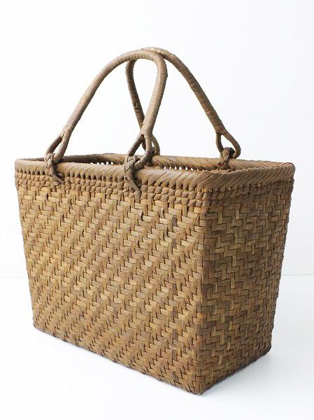 伝統工芸品角型 綱代編み かごバッグ